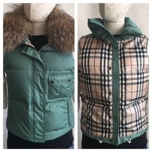 Burberry S Puffer Vest Down Jacket Fur Nova Check